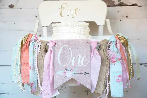 Boho 1st Birthday Decor, Boho Highchair Banner, Tribal Banner, First Birthday Party, Floral 1st Birthday Decor, High Chair Garland, HC017