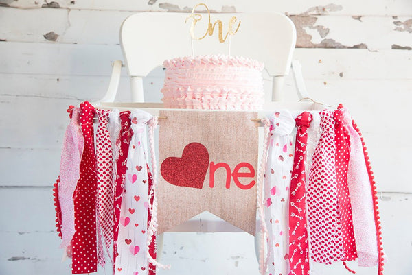 Valentine's Day 1st Birthday Decor, Valentines First Birthday Banner, Valentine's Highchair Banner, One Year Old Party Decoration, HC036