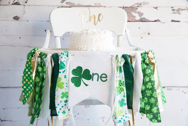 St. Patricks Day 1st Birthday Banner, St. Patrick's Day Highchair Banner, St. Patrick's Day First Birthday Banner, HC034