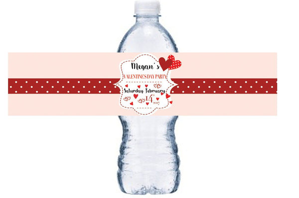 Waterproof, Valentine's Day Water Bottle Labels, Personalized, Valentine's Party Bottle Wrap, Custom Name, Valentine's Bottle Decor, BL021