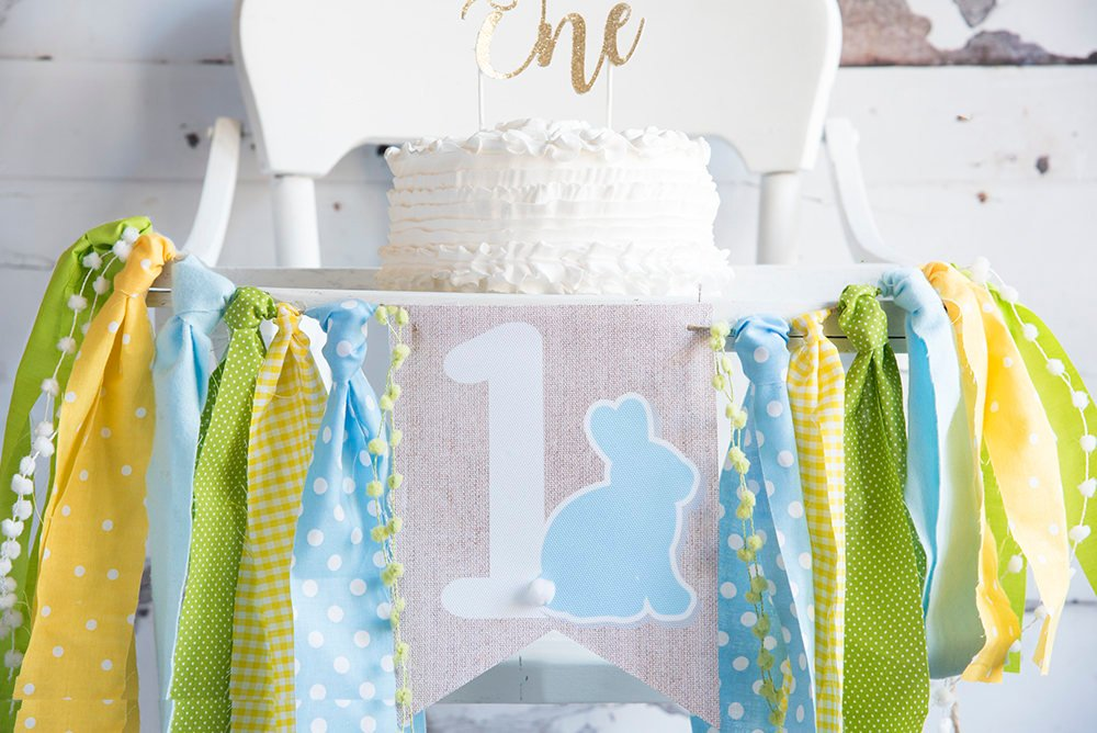 Bunny Highchair Banner, Easter Bunny Banner, Easter First Birthday Decor, Rabbit One, Some Bunny is One, Boy's Easter Birthday, HC041