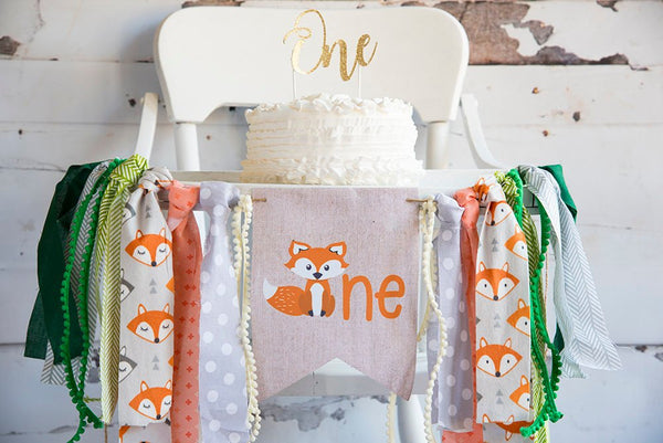 Fox First Birthday Decor, Woodland Highchair Banner, Fox Banner, Woodland One, Fox Birthday Party, Cake Smash Prop, HC027