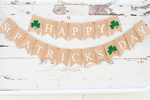 Happy St Patrick's Day Banner, Clover Burlap Banner, St. Paddy's Day Banner, Irish Clover Sign, B062