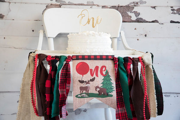 Bear Highchair Banner, Lumberjack 1st Birthday Decor, Deer Banner, Moose First Birthday Party, Cake Smash Prop, One Year Decoration. HC003