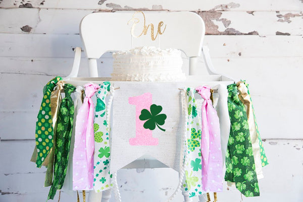 St. Patricks Day Highchair Banner, Girl's St. Patrick's Day Party Banner, First Birthday Paddy's Day,  Pink 1 Year Old Party Decor, HC046