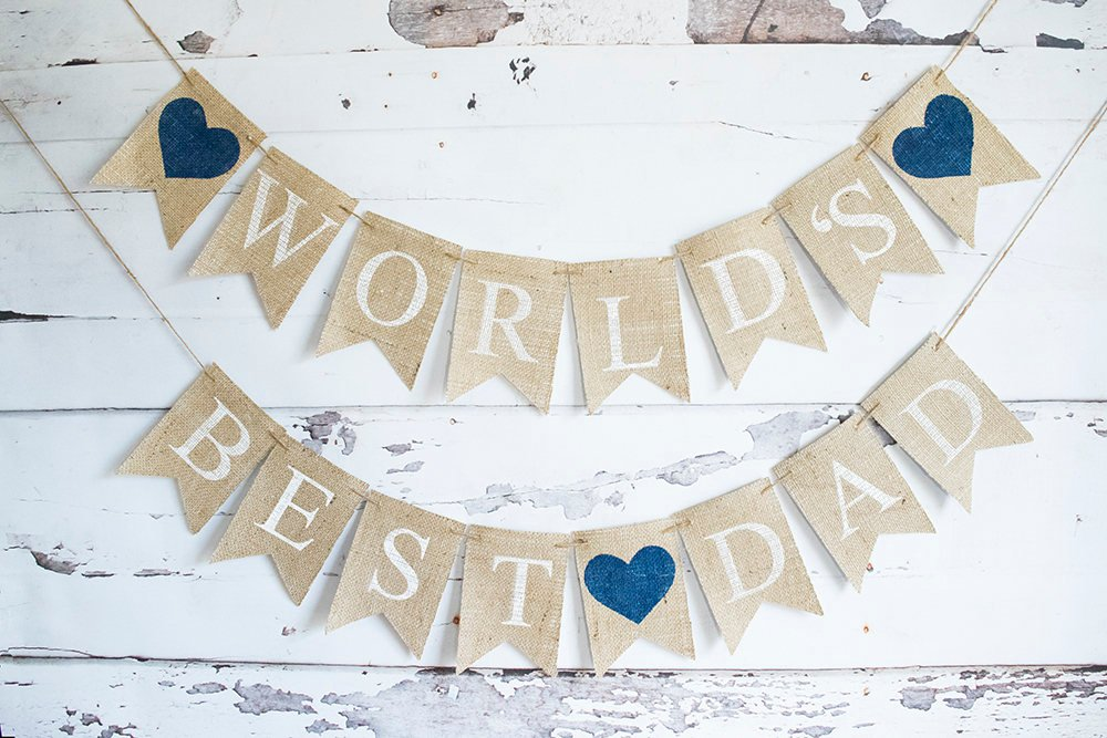 Fathers Day Decor Dads Birthday Decoration Worlds Best Dad Banner Celebration Sign