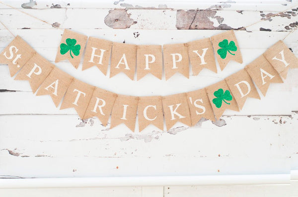 Happy St Patrick's Day Banner, Glitter Clover Burlap Banner, St. Paddy's Day Banner, Irish Clover Sign, B662