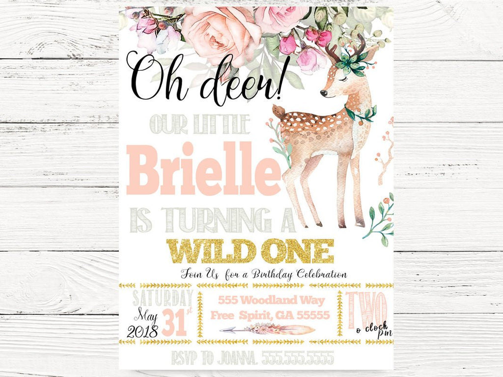 Oh Deer 1st Birthday Invitations, Our Little Deer Invite, Wild One Themed Party, First Birthday Invitation, C093