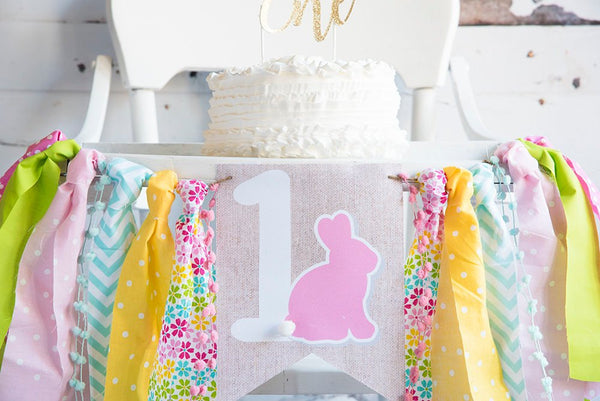 Girl's Easter First Birthday Decor, Bunny Highchair Banner, Easter 1st Birthday Banner, Some Bunny is One, Easter Birthday Decor, HC042