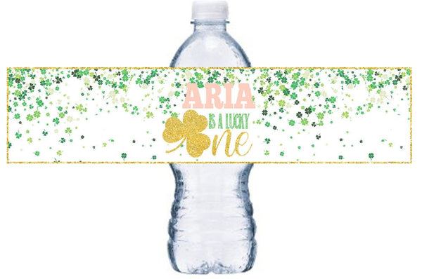 Lucky One  Water Bottle Labels, St. Patricks Day Bottle Wrap, Lucky One  Birthday Party, Little Girl Birthday Party Decor, BL059