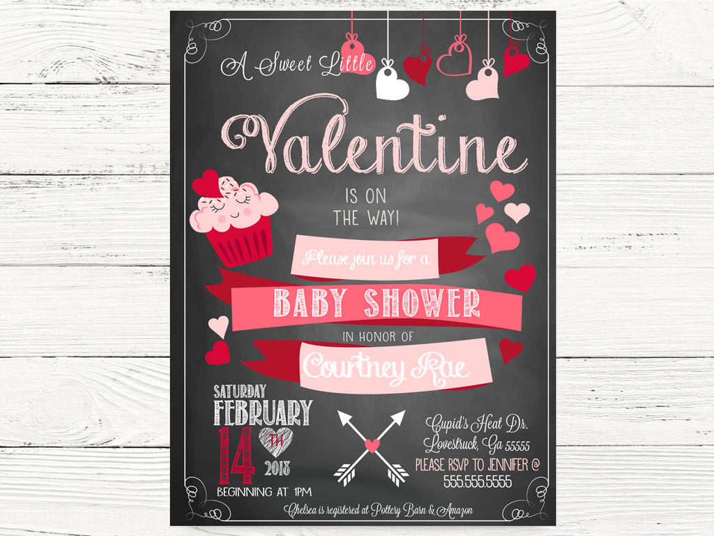 Valentine Baby Shower Party Cards, Baby Shower Invitation, Valentine Baby Invitations, Valentines Gender Reveal  Invitations, C090