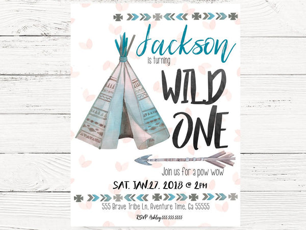 WILD ONE 1st Birthday, Baby Boy Tribal First Birthday Invite Tee-Pee Invitations, Wild One Themed Party, First Birthday Invitation, C092