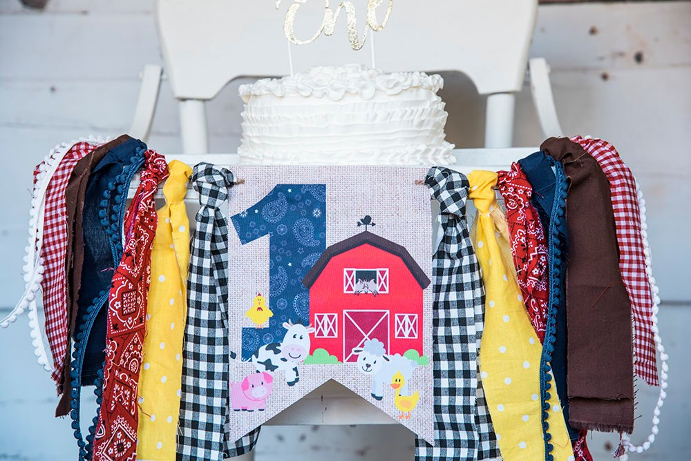 Farm 1st Birthday Decor, Farm Highchair Banner, Farm Banner, Red Barn Banner, Barnyard Animals Banner, HC021
