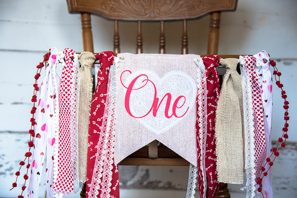 Valentine's Day Highchair Banner, Valentine's 1st Birthday Decor, Valentine's Party, Lace and Heart First Birthday Party Banner, HC022