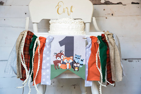 Woodland First Birthday Decor, Fox Highchair Banner, Woodland Animals Banner, Woodland One, Fox Birthday Party, Cake Smash Prop, HC013