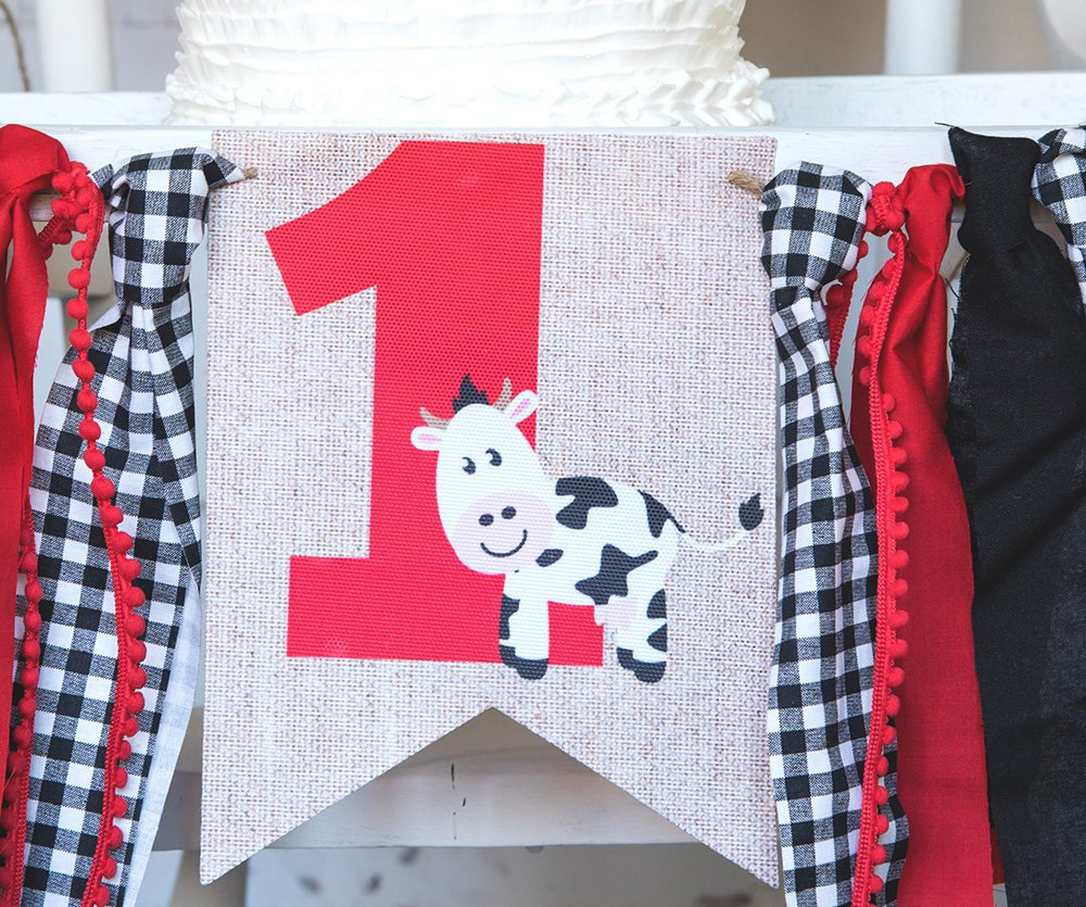 Farm 1st Birthday Decor, Farm Highchair Banner, Baby Cow Banner, Farmyard Animal Banner, First Birthday Party, Cow 1st Birthday, HC026