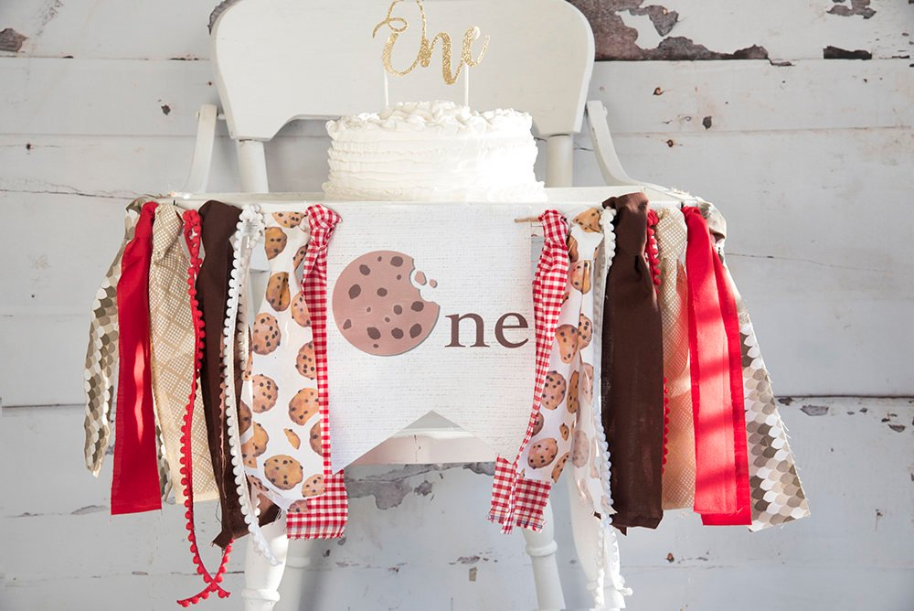 Cookie First Birthday Decor, Cookie Party Banner, Cookie Banner, Cookie Highchair Banner, Cookie Birthday Banner, HC039
