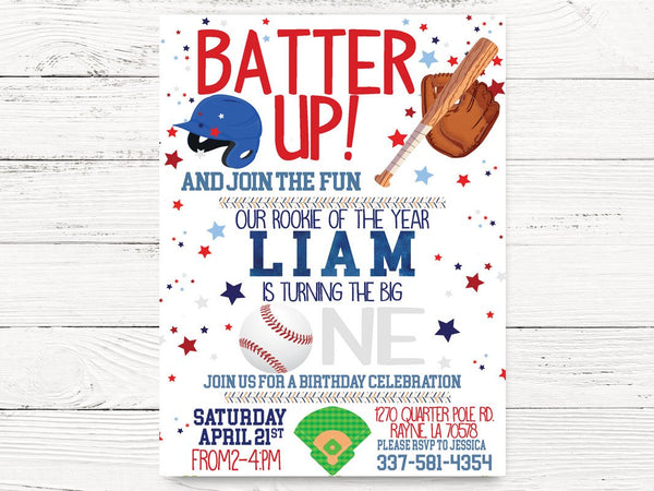 Digital, Baseball First 1st Birthday, Baseball First Birthday Invite, Baseball Invitation, Baseball Themed Party, Birthday Invitation, C103D