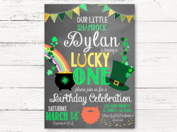 Digital St. Patricks Day First Birthday Invite, Lucky One Party Invite St. Paddy's Day Invite, Baby Invite, 1st Birthday Invitation, C095