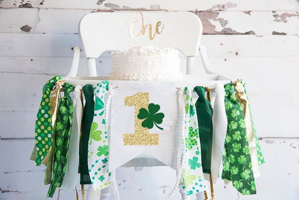 St. Patricks Day 1st Birthday Party, St. Patrick's Day Party Banner, First Birthday Paddy's Day,  St. Patrick's Day Highchair Banner HC045