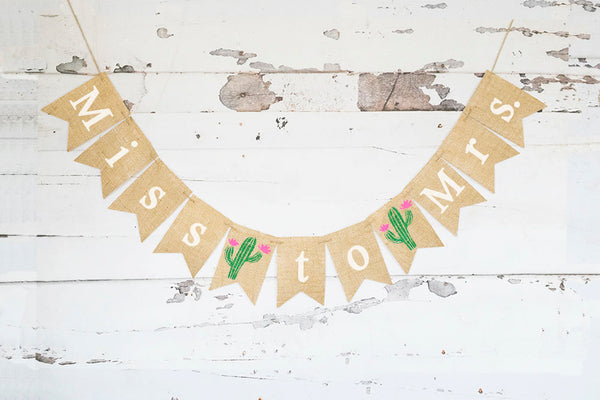 Fiesta Bridal Shower Banner, Fiesta Miss to Mrs Banner, Cactus Bridal Shower Decor, Cactus Miss To Mrs Banner, Fiesta Bridal Decor, B929