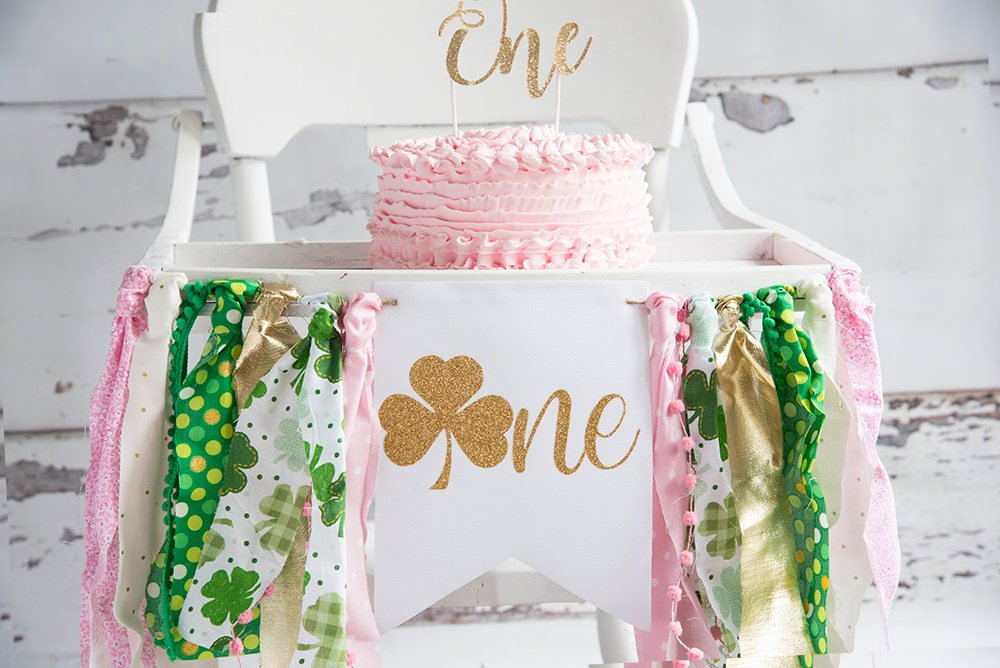 St. Patricks Day 1st Birthday Party, St. Patrick's Day Birthday Banner, First Birthday Highchair Banner,  One Year Old Party Decor, HC047