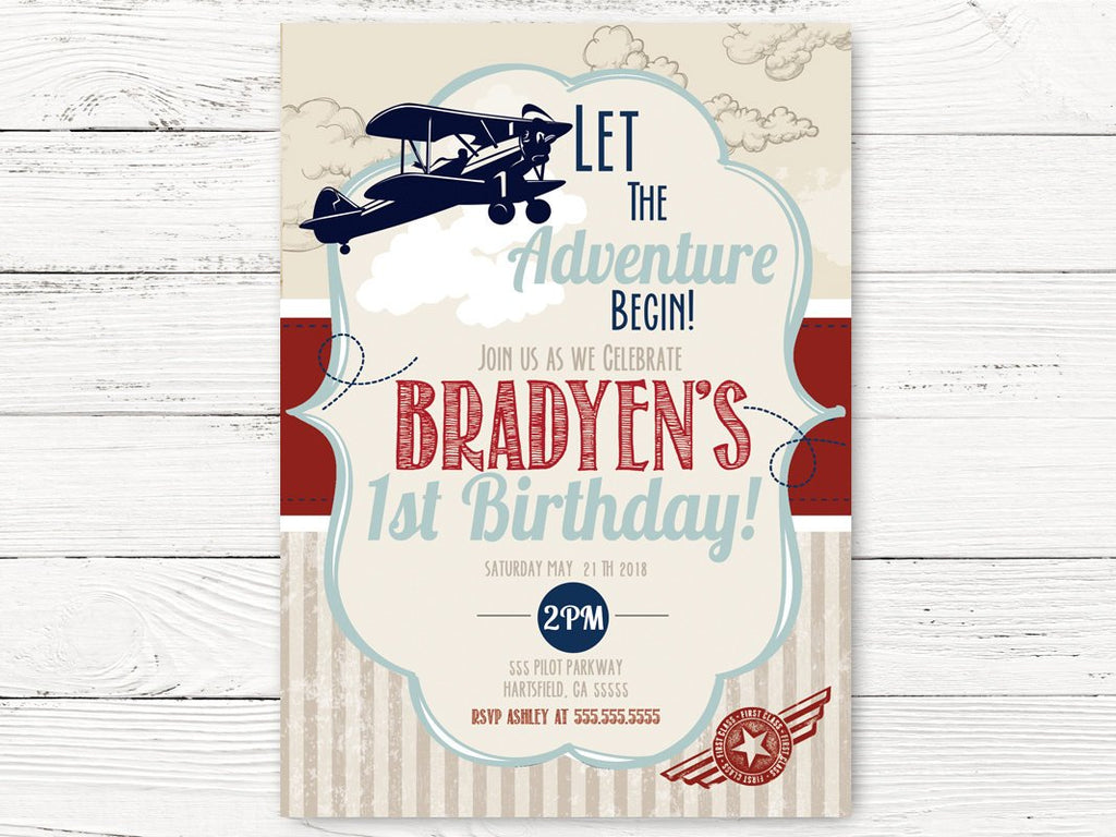 Vintage Airplane First Birthday Invite Adventure Begins Par Swanky Party Box
