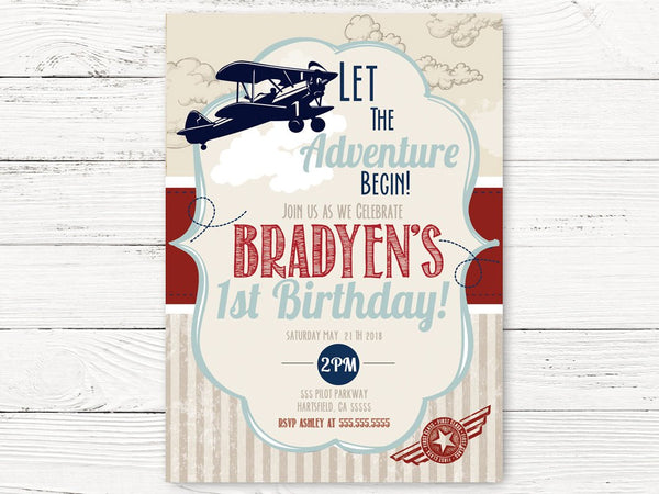 Digital Vintage Airplane First Birthday, Airplane Invite, Adventure Begins Party, Airplane Pilot Theme Party, 1st Birthday Invitation, C096