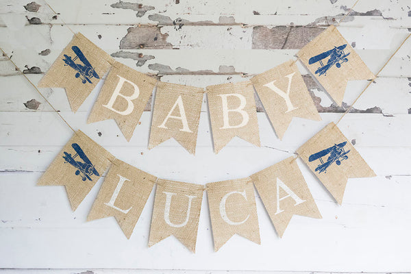 Vintage Airplane Baby Shower Decor, Vintage Airplane Baby Shower Garland, Plane Baby Shower, Personalized Airplane Decoration, B932