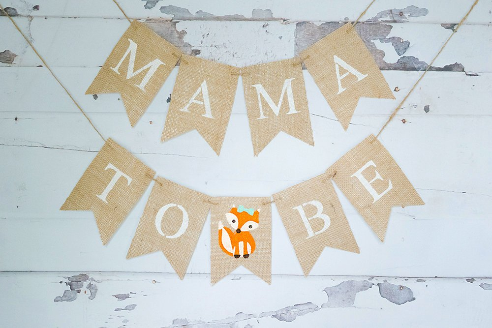 Fox Baby Shower Banner, Fox Baby Shower Decor, Woodland Fox Mama To Be Sign, Woodland Themed Baby Shower, Fox Mom To Be Sign, B935