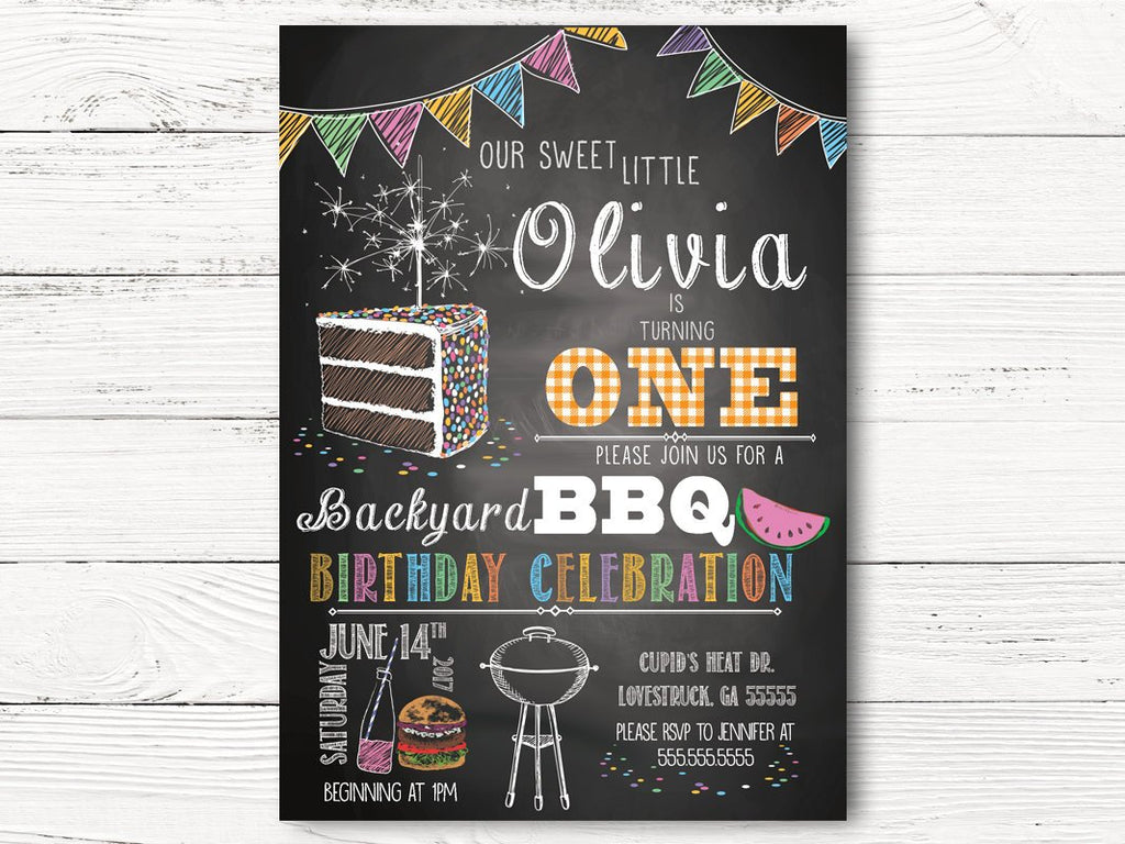 Digital BBQ Birthday Invitation, Girl First Birthday Invitations, Personalized Barbecue Invitation, Girl 1st Birthday Invitation Cards, C043