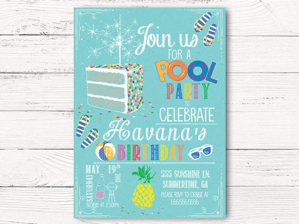 Pool Party Birthday Invitation Summer Invite C108