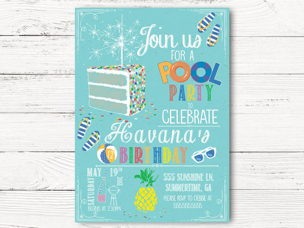 Pool Party Birthday Invitation, Summer Party  Invite, Pool Birthday Invitation, C108
