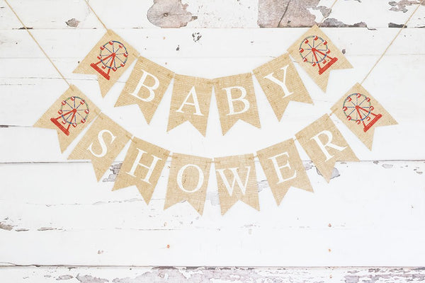 Carnival Baby Shower Banner, Ferris Wheel Baby Shower Decoration, Carnival Themed Shower Party, Circus Baby Shower Garland, B848