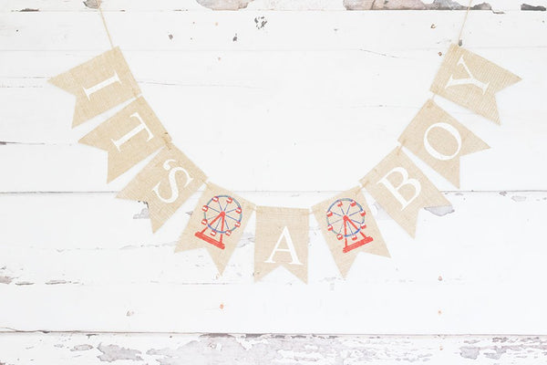 Carnival Baby Shower Banner, Ferris Wheel Baby Shower Decoration, Carnival It's a Boy Banner, Circus Baby Boy Garland, B851