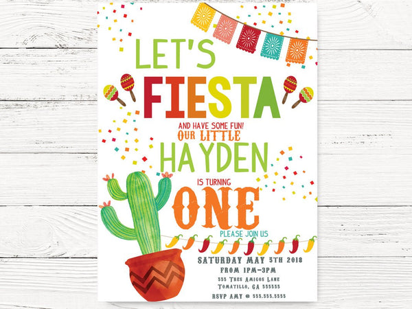 Digital Fiesta  1st Birthday, Baby Boy Cactus First Birthday Fiesta Invitations, Fiesta Themed Party, First Birthday Invitation, C099