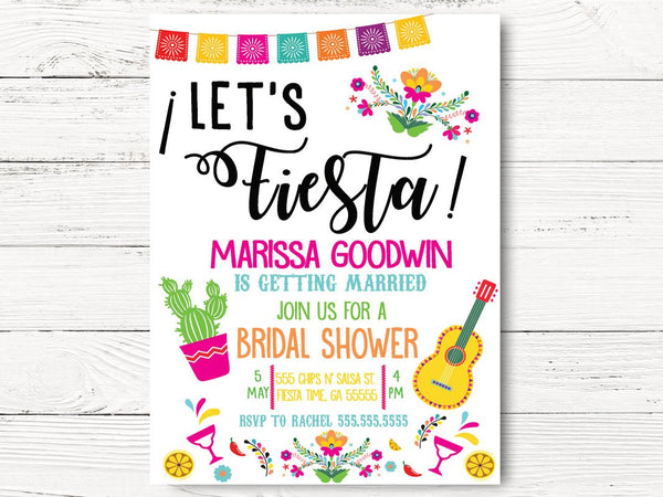 Fiesta Bridal Shower Invitation, Cactus Bridal Shower, Fiesta Invitation, Tying the Knot Invite, Cactus Party, C102