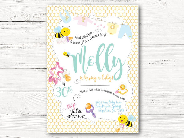 Baby Bumble Bee Baby Shower Invitation, Baby Boy or Girl Shower Invite, Bumble Bee Invitation, Gender Reveal Baby Shower Invite,  C116
