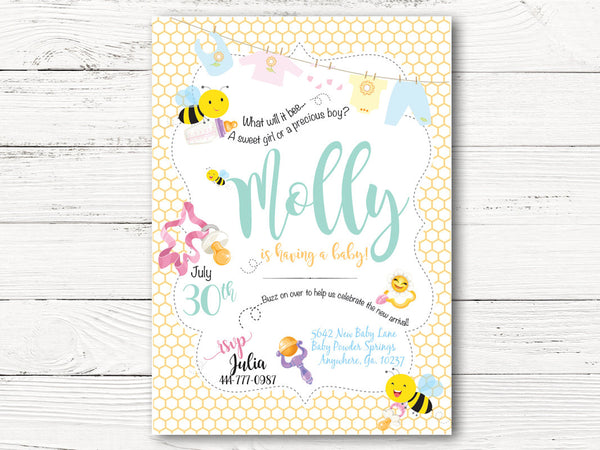 Digital Baby Bumble Bee Baby Shower Invitation, Boy or Girl Shower Invite, Bumble Bee Invitation, Gender Reveal Baby Shower Invite,  C116