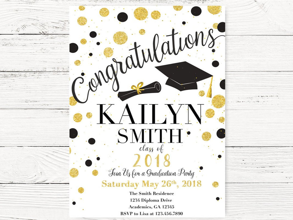 Black & Gold Dots Graduation Invitations – Swanky Party Box