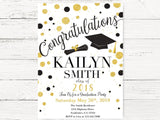 Graduation Invitation, Class of 2018 Graduation Invitations, Black and Gold Polka Dots Graduation Invite, 2018 Graduation Party Invite, C105