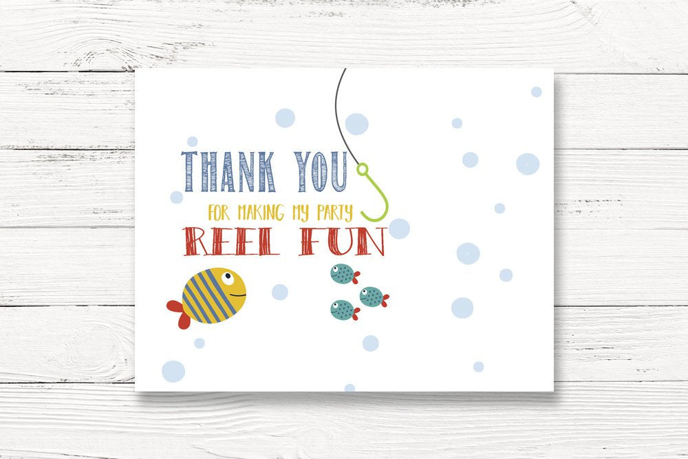 Digital Fishing Birthday Party Thank You Card, Fishing Thank You, O-Fish-Ally 1,Fishing Themed Thanks, First Birthday Thank You, C135
