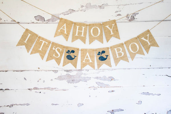 Ahoy It's A Boy Banner, Nautical Baby Shower Decor Whale Baby Shower Banner, Nautical Baby Shower Sign, Whale It's A Boy Banner,  B893