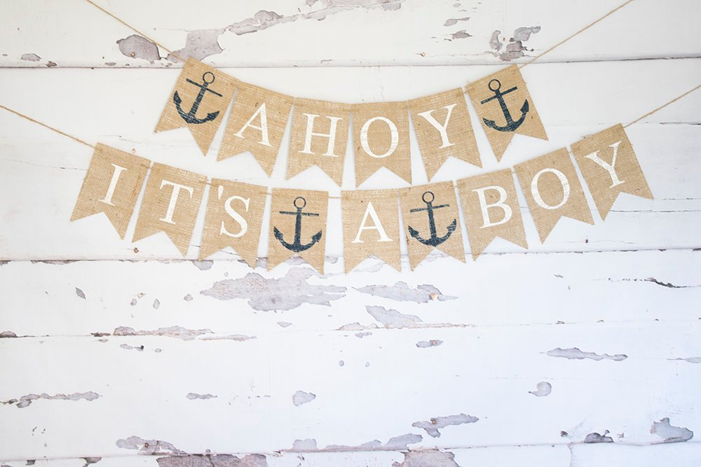 Nautical Baby Shower Decor, Ahoy It's A Boy Banner, Nautical Banner, Anchor Baby Shower Banner, Nautical Birth Announcement, B895