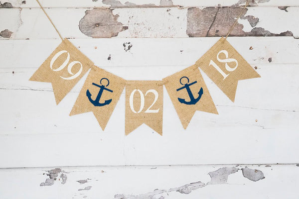 Nautical Save The Date Burlap Banner, Nautical Bridal Shower Decor, Rustic Engagement Announcement Sign, Country Wedding Photo Prop, B947