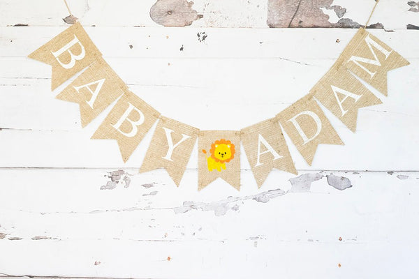 Safari Baby Shower Decoration, Lion Baby Shower Banner, Lion Nursery Decor, Jungle Baby Shower Banner, Personalized Safari Sign, B800