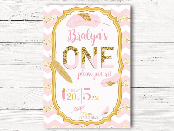 Digital Pink Gold First Birthday Invitation, First Birthday Invite, C122