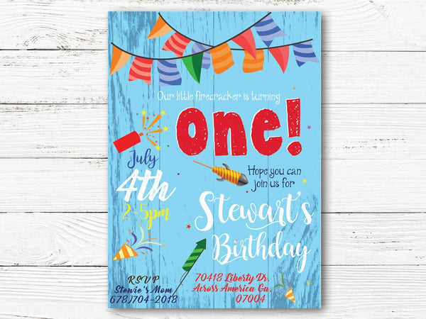 Firecracker 1st Birthday, July 4th Birthday Invite, Firecracker 1, Firecracker Themed Party, First Birthday Invitation  , C119