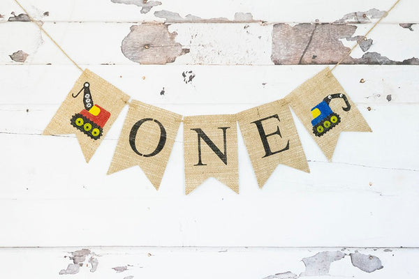 Construction Birthday Party Decor, Construction 1st Birthday Party, Construction Party Decor, Construction Highchair Banner, B794