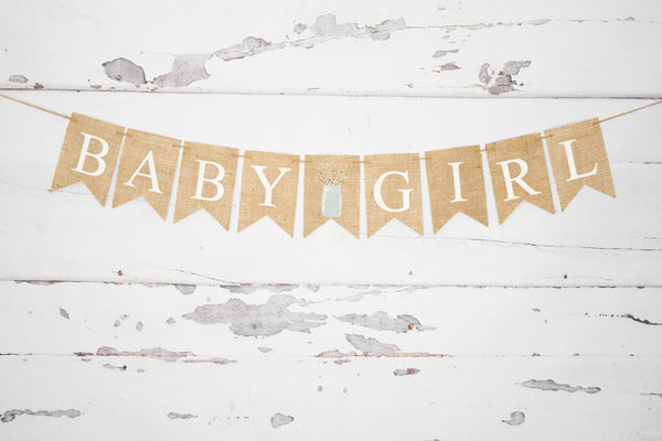 Baby Girl Shower Decor, Baby Girl Banner, Girl Baby Shower Banner, Backyard Burlap Baby Shower Banner, B970